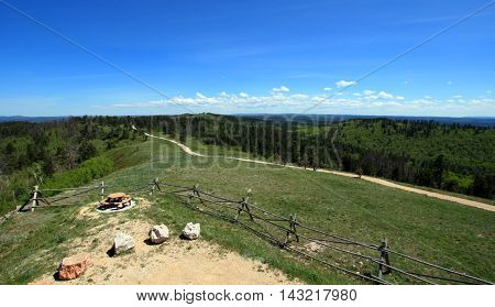 Cement Ridge split rail fence view of the Black Hills in South Dakota USA
