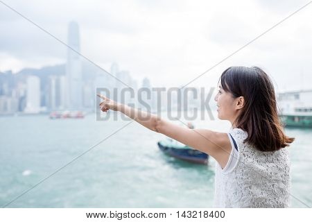 Woman visiting Hong Kong