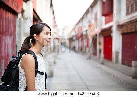 Woman visiting Macao city