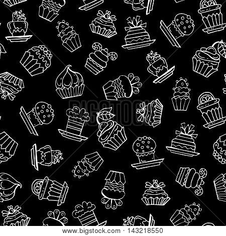 Vector seamless pattern with hand drawn isolated cupcakes on black color. Pattern on the theme of food desserts pastry-shop. Background for use in design, packing, web site, fabric