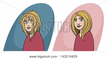 Girl, before and after concept, hair cut, hair treatment, character, vector illustration