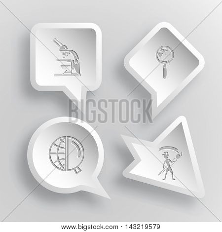 4 images: lab microscope, magnifying glass, globe and magnifying glass, ethnic little man with brush. Education set. Paper stickers. Vector illustration icons.