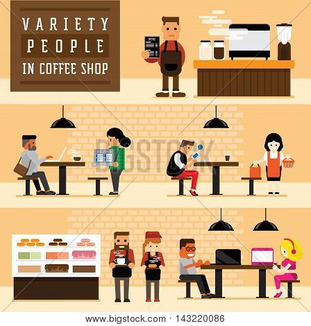 variety of occupation with variation character design in coffee shop community