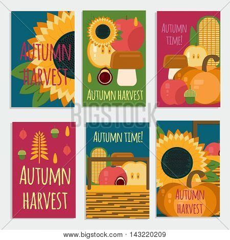 Vector banners of autumn harvest in flat style. Wooden crate with autumn fruits and vegetables.Cards with fresh natural foods. Cart with product buy in supermarket. Diet and organic food template.