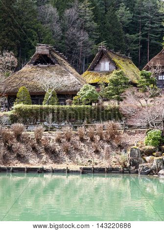 Traditional thatched wooden huts in Takayama Japan.