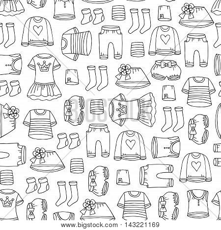 Vector seamless pattern with hand drawn isolated clothes for girls on white color. Pattern on the theme of fashion and children's wear. Background for use in design, packing, web site, fabric