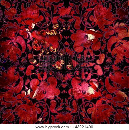 floral shabby abstract pattern red and black