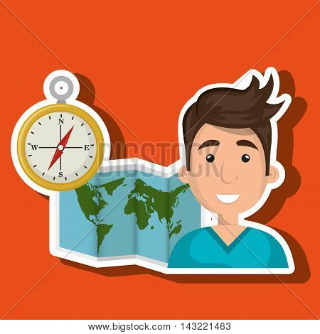 man map world global travel vector illustration eps 10