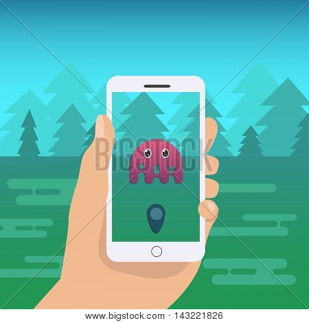Flat mobile phone vector illustration. Magic Creaturein the forest. Hand holding mobile phone cartoon illustration.