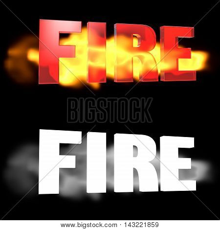 The word FIRE on a background of fire. Alpha channel. 3D illustration