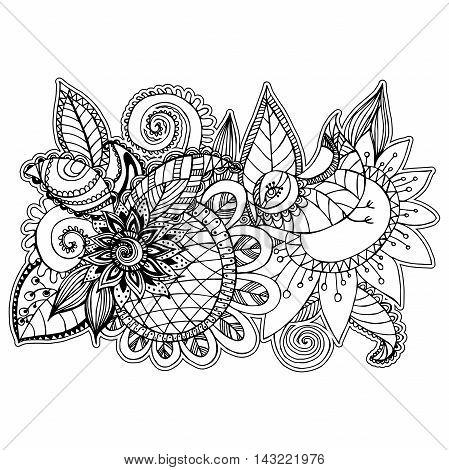 Vector beautiful oriental floral patterns in style zentangl
