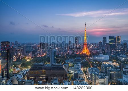 Tokyo city view and Tokyo Tower at Sunset in spring season