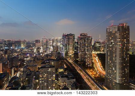 Tokyo cityscape and tokyo sky tree at night