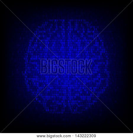 Artificial intelligence concept. Binary code brain icon on the digital high tech style vector background.