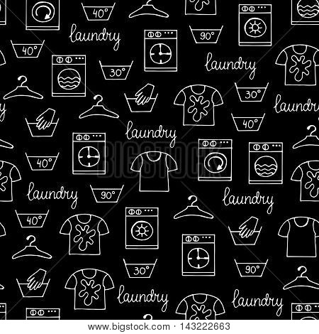 Vector seamless hand drawn pattern with hand drawn isolated symbols of laundry on black color. Pattern on the theme of cleanliness and tidiness. Background for use in design, packing, web site, fabric