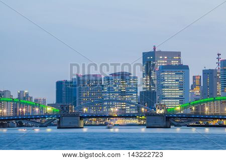Panorama view of waterfront Tokyo city at twilight