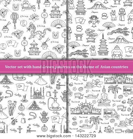 Vector set of hand drawn patterns with symbols of Asian countries - China Japan Turkey Thailand. Patterns on the theme of travel tourism. Background for use in design