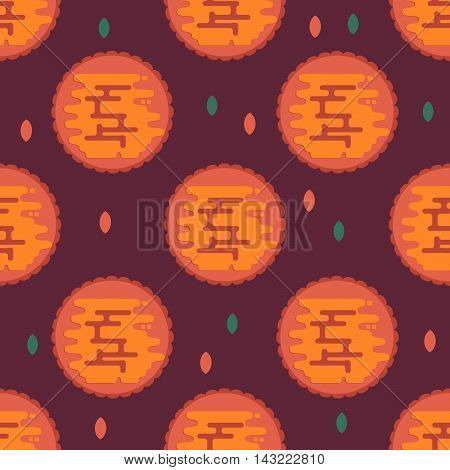 Moon cookie pattern for chinese mid autumn festival. Vector background for lunar festival. Pattern for textile packaging wallpaper and wrapping.