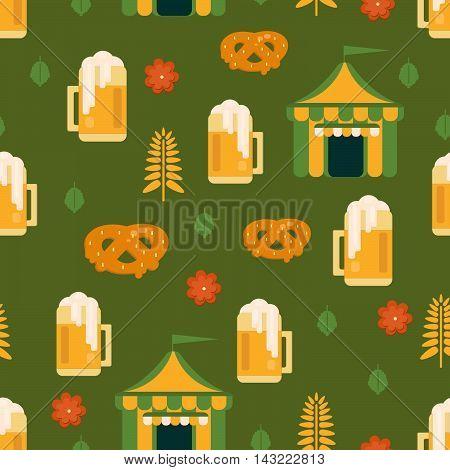 Beer and pretzel pattern.Beer tent background for festivals restaurants menu and bars. Vector illustration in flat style.