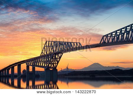Tokyo gate bridge and Mt.Fuji at beautiful sunset in winter