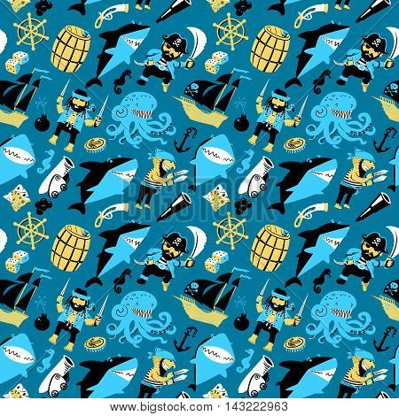 Vector seamless pattern with pirates and sharks and nautical objects