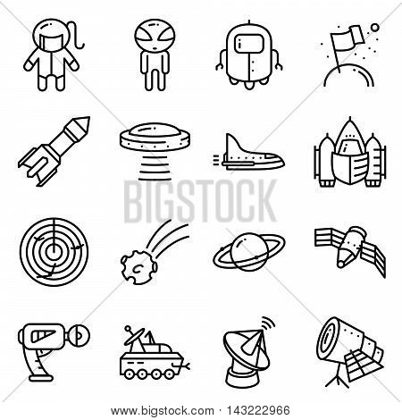 Vector thin simply space icons set with technology and expedition UFO and alien robot astronaut shuttle rocket radar comet planet telescope blaster satellite in cute minimalistic style