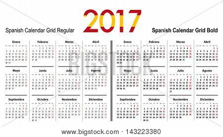 Calendar grid for 2017 with Spain flag colors on 2017. Mondays first. Regular and bold digits grid. Best for business and office needs web design presentations and prints. Vector illustration