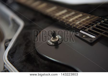 electric guitar Black, musical equipment for music background
