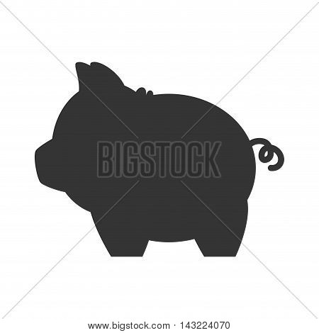 piggy money pig toy saving cash silhouette vector illustration