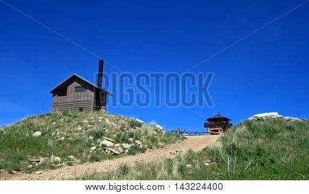 Cement Ridge Fire Lookout Tower in the Black Hills of South Dakota America