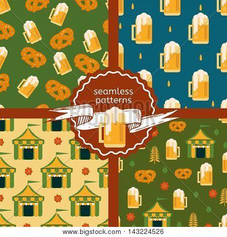 Set of beer theme patterns. Beer and pretzel beer tent and beer mug backgrounds. Vector patterns for festivals bars restaurants and menu.
