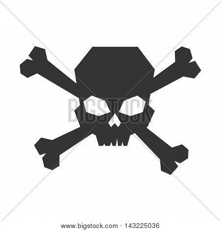 skull caution danger bones symbol warning toxic vector illustration