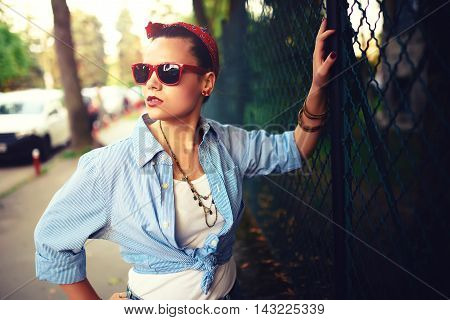 Beautiful Happy Girl With Sunglasses On The Urban Background. Young Fancy, Funky Active People. Outd
