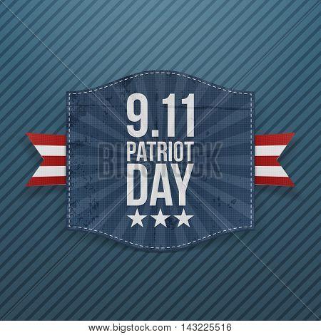 Eleventh September Patriot Day national Emblem. Vector Illustration