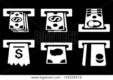 ATM Cashpoint vector icons. Pictogram style is white flat icons with rounded angles on a black background.
