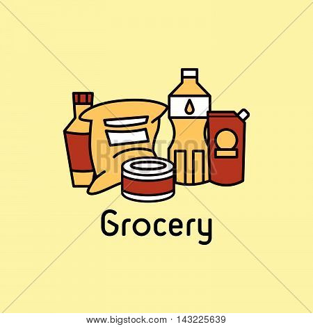Vector line icon. Grocery section. Badge, signboard or banner.