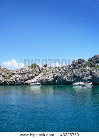 Rough coastline and turquoise sea, coastal feature in Asia.