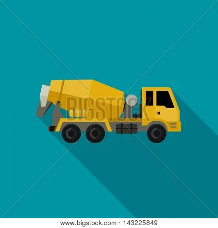 Concrete mixer truck in flat style. Vector icon of building machinery.