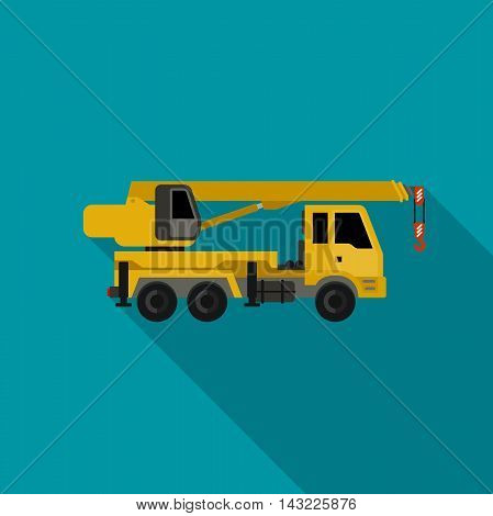 Construction machine in flat style. Vector icon of crane truck.