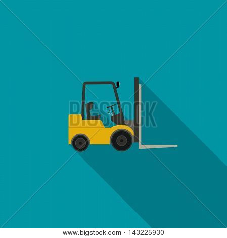 Forklift truck icon. Vector icon of building machinery with long shadow.