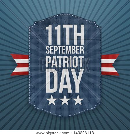 September 11th Patriot Day paper Badge. Vector Illustration