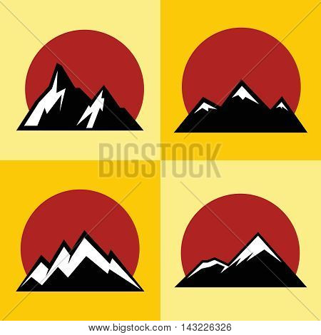 Mountain flat icons with red sun on yellow background. Tourism and mountaineering logo, vector illustration
