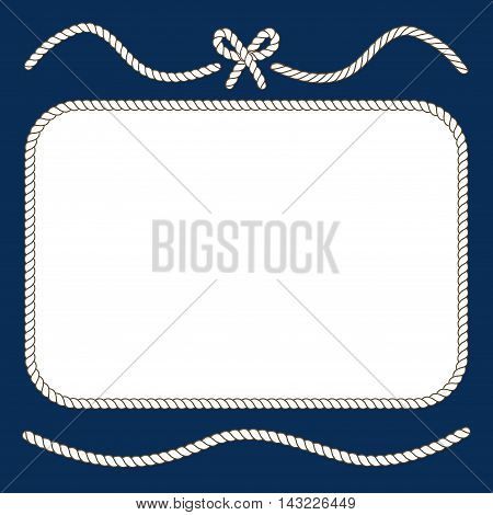 Nautical ropes and bow frame. Twisted cord design, vector illustration