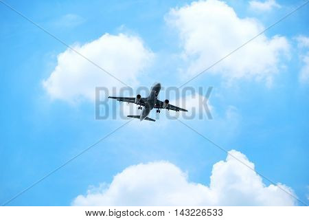 Passenger aircraft are landing on the sky.