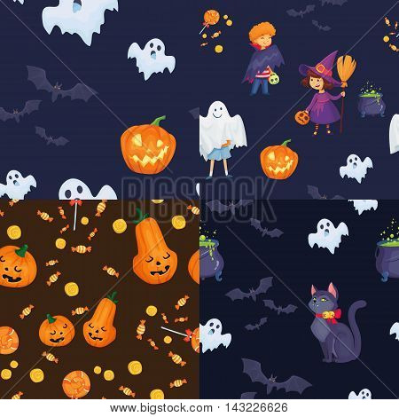 set of seamless patterns. kids halloween costumes vector illustration. witch, vampire and ghost characters for halloween party.