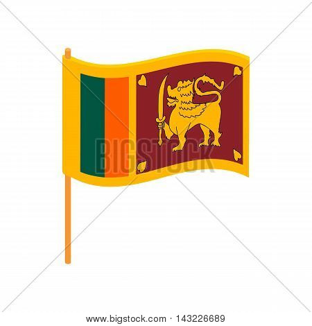 Flag of Sri Lanka icon in cartoon style isolated on white background. State symbol