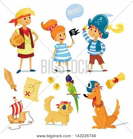 pirate party vector illustration. kids and animals dressed like pirates.