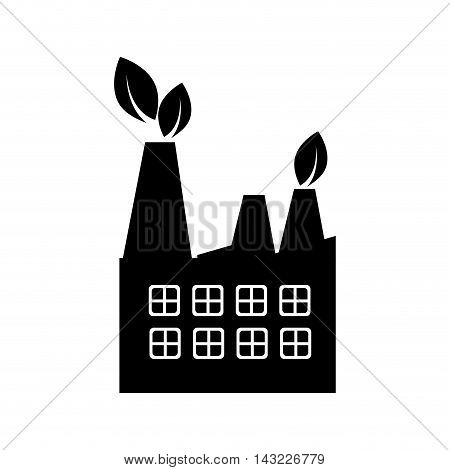 factory industry building steam chimney tower ecology leaves production vector illustration