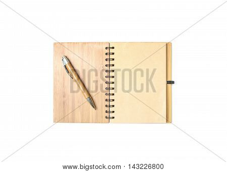 Closeup surface brown note book with blank brown space in page with brown pen isolated on white background