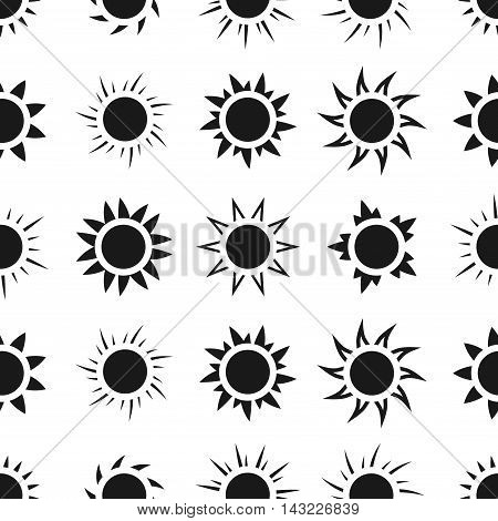 Suns in the sky seamless pattern. Monochrome background with sun, vector illustration